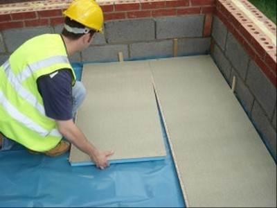 Укладка плит на бетонное основание