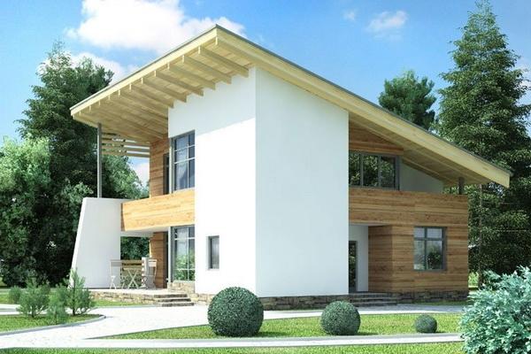 Частный дом с односкатной крышей