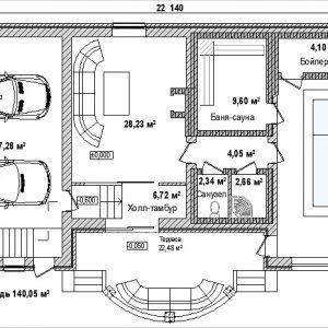 Проект: гараж на 2 машины и бассейн