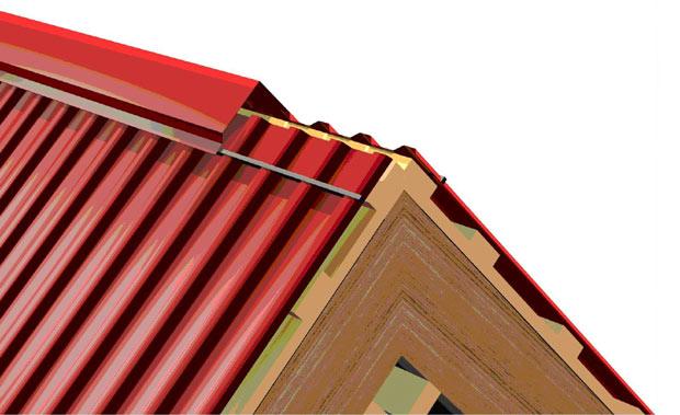 Схема установка конька на крыше