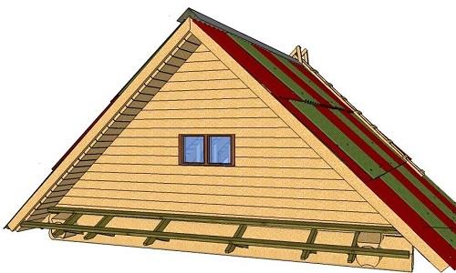 Фронтон дома с двускатной крышей