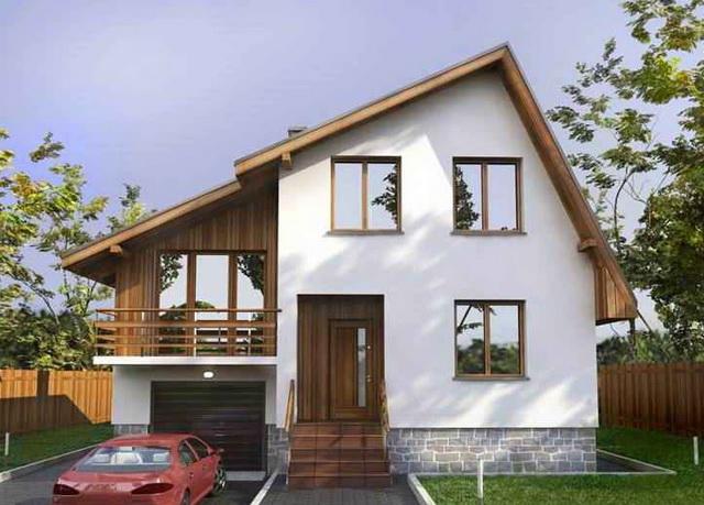 Загородный дом с ассиметиричной двускатной крышей