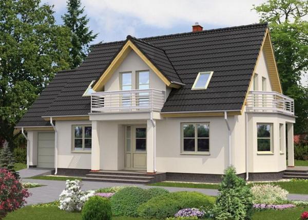 Мансардная крыша загородного дома с выносными консолями