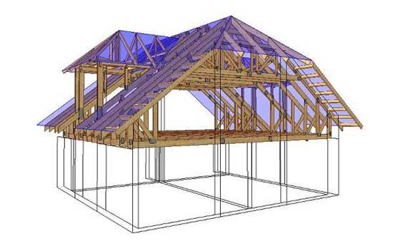 Проект четырехскатной мансардной крыши