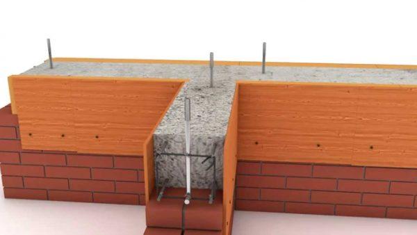 Установка крепежных закладных элементов под мауэрлат