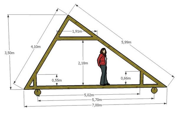 Ассиметричная двускатная крыша частного дома