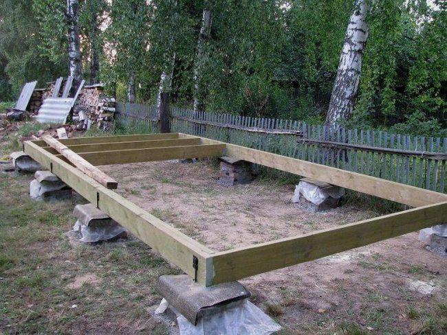 Фундамент для сарая с односкатной крышей