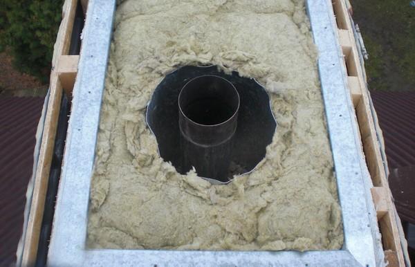 Заполнение узла прохода дымохода базальтовой ватой