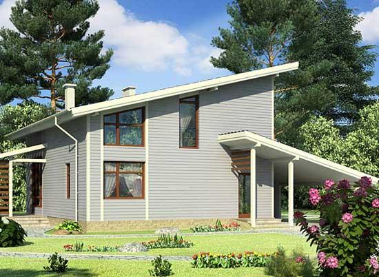 Проект односкатного дома с мансардой