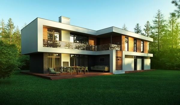 Современныей загородный дом с плоской крышей