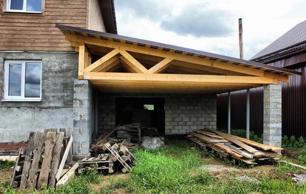 Крыша пристроя заводится под крышу здания
