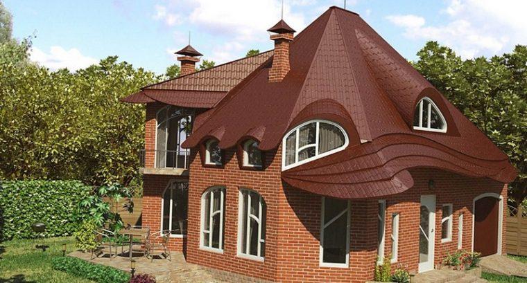 Конусная крыша загородного дома