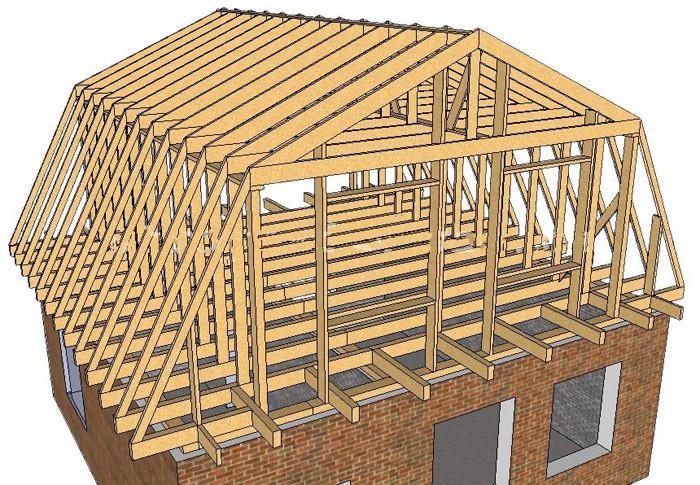 Стропильная система ломаной мансардной крыши