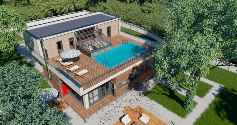 Частный дом с бассейном на крыше