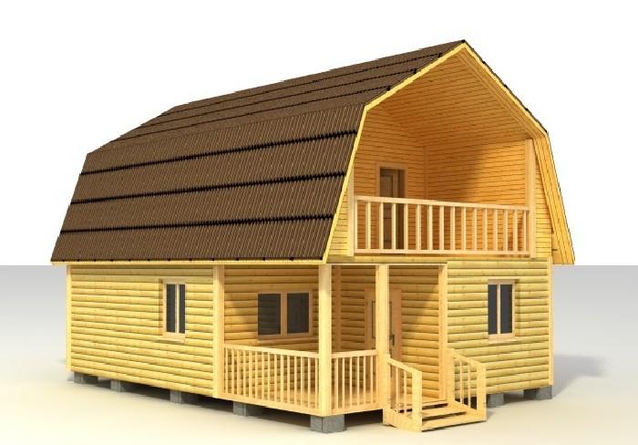 Проект деревянного дома с двускатной ломаной крышей