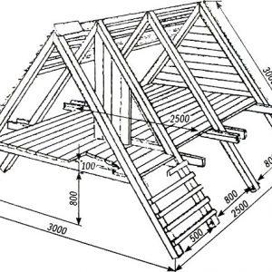 Чертеж двускатной крыши