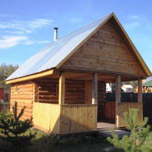 Баня с двускатной крышей