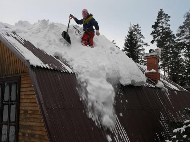 Очистка крыши частного дома от снега