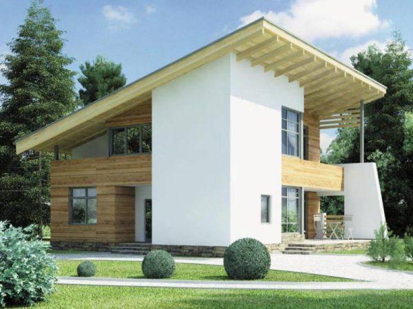 Загородный коттедж с односкатной крышей