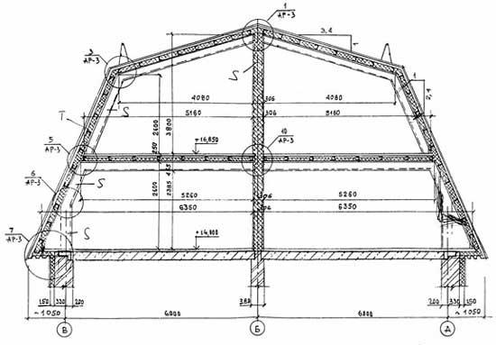 Чертеж стропильной системы двускатной мансардной крыши