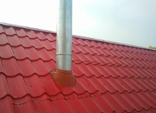 Вывод на крышу круглого дымохода