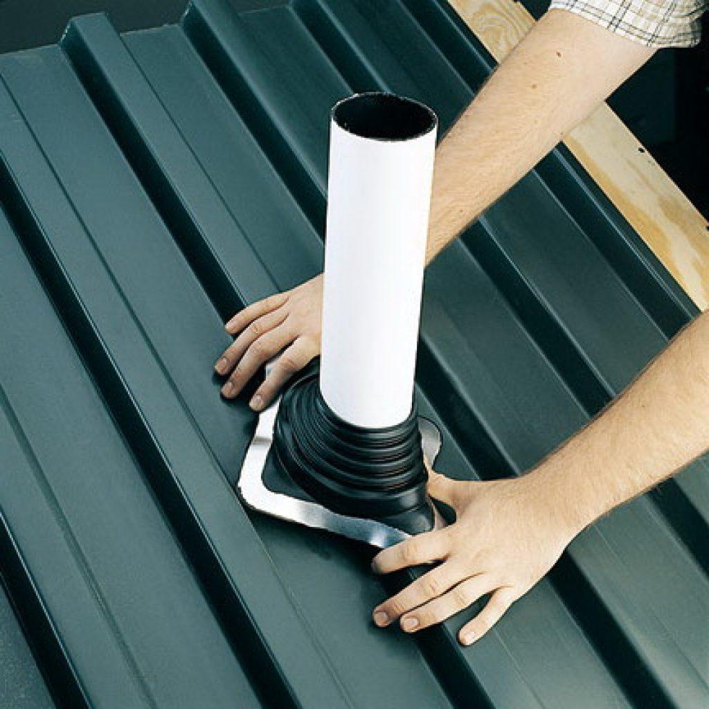вывод трубы через крышу из профнастила