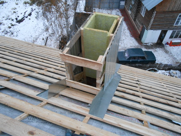 Обход трубы на крыше