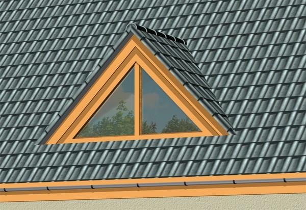 Треугольное слуховое окно на крыше загородного дома