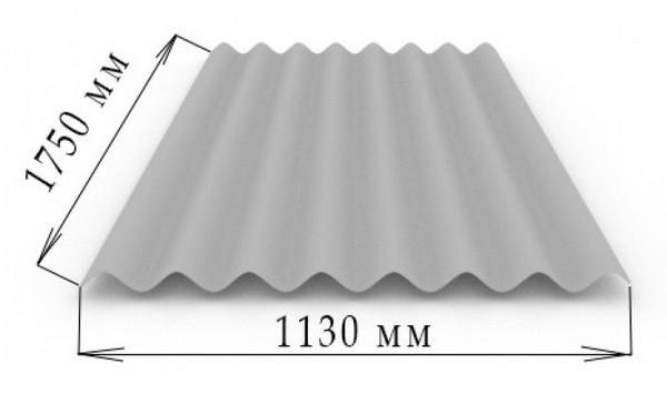 Размеры 8-ми волнового листа шифера