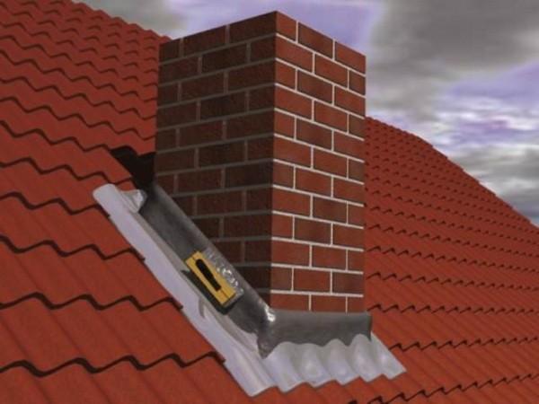 Герметизация стыка между трубой и крышей