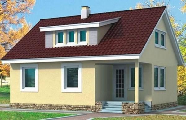 Проект дома с односкатным слуховым окном