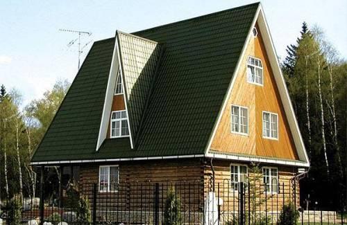 Двускатная крыша частного дома с большим уклоном