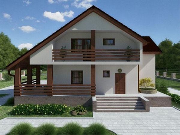 Коттедж с ассиметричной мансардной крышей