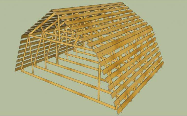 Стропильная система мансардной крыши с обрешеткой