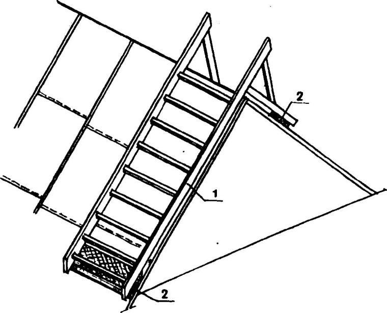 Чертеж деревянной лестницы для кровельных работ