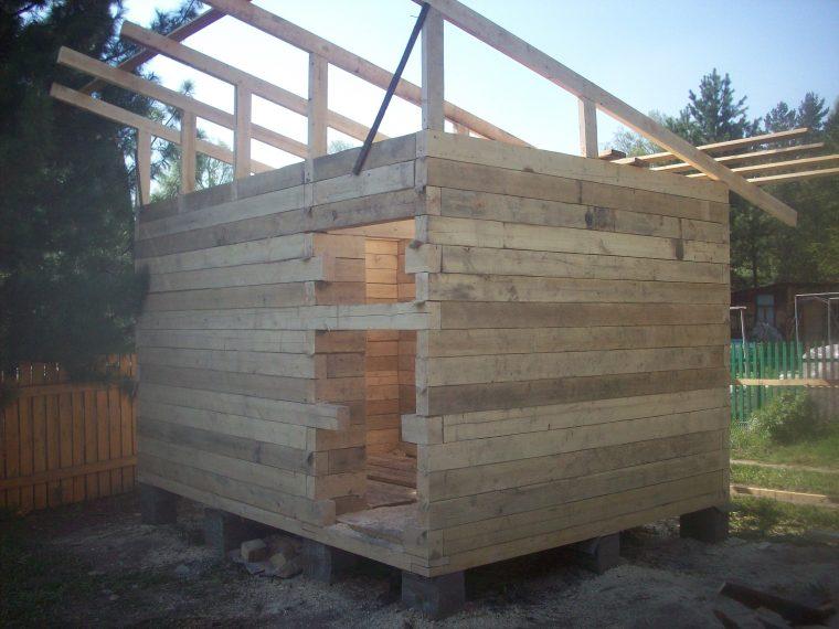 Установка стропил односкатной крыши для бани