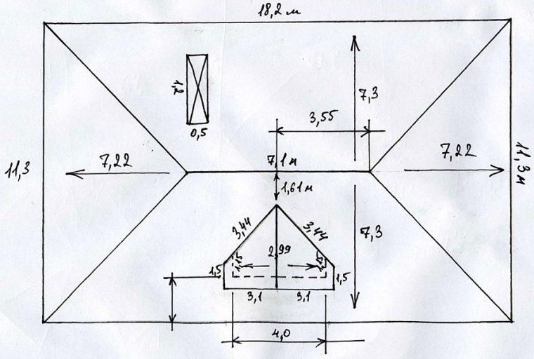 Пример чертежа четырехскатной кровли
