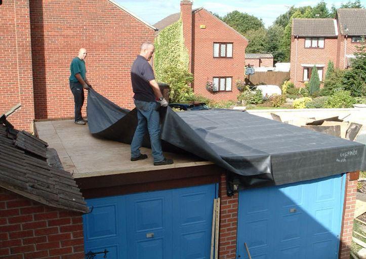 Укладка полимерной мембраны для гидроизоляции крыши гаража