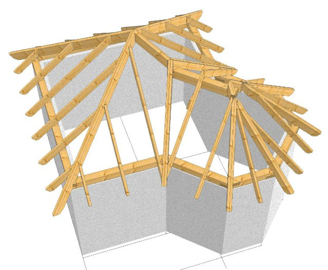 Стропильная система крыши над эркером