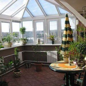 Зимний сад на крыше частного дома